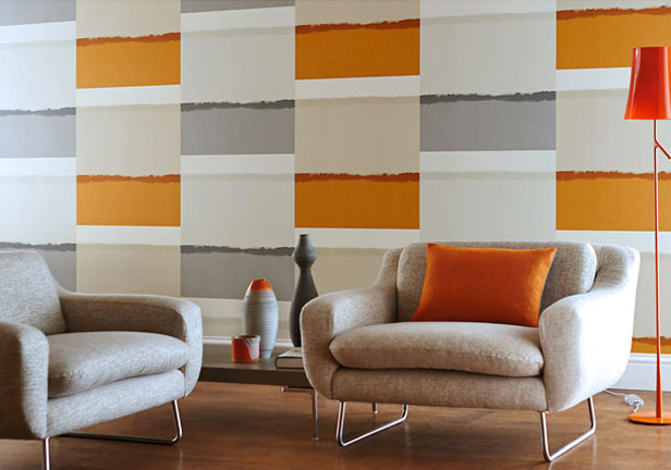 Chambre papier peint orange design de maison for Decoration papier peint
